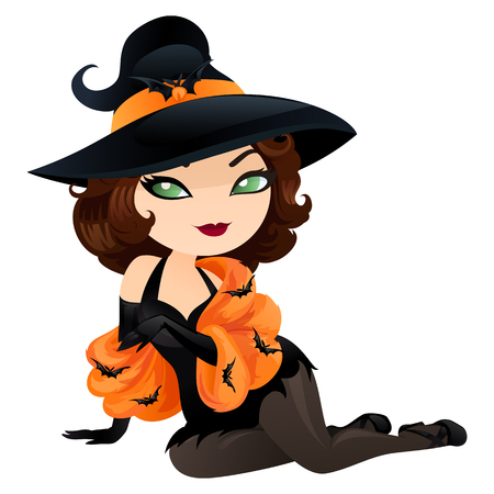 Cute witch in a cartoon style. Witch isolated on white background. Vector illustration.