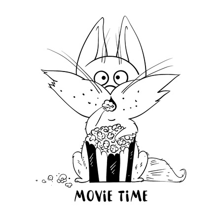 viewer: Cute cat isolated on white background. Funny cat eat popcorn and watching a movie. The cat in cartoon style. Vector illustration.