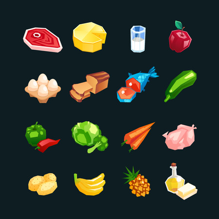 Everyday food products. Icons of vegetables, fruits and meat isolated on a dark background. Icons of healthy food in a cartoon style. Vector illustration.