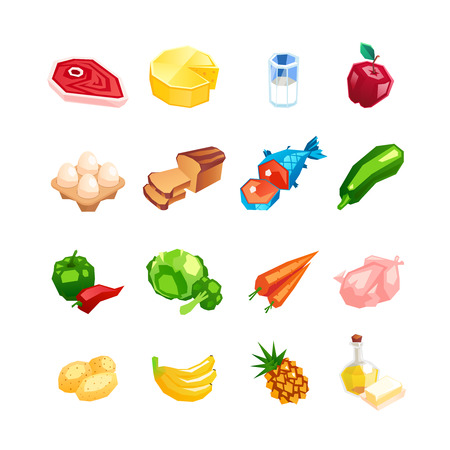 Everyday food products. Icons of vegetables, fruits and meat isolated on a white background. Icons of healthy food in a cartoon style. Vector illustration.