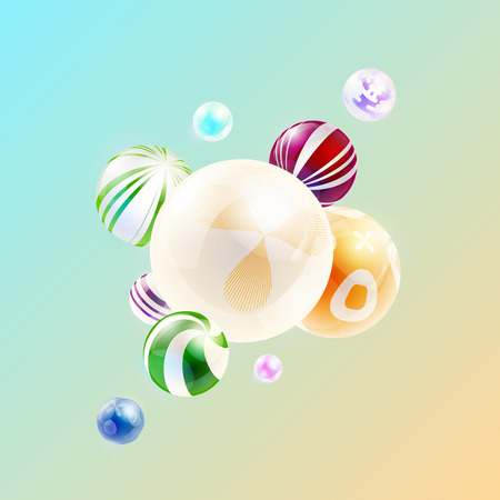 Abstract background with composition of spheres. Shining spheres with an abstract pattern. Vector illustration. Stock Photo