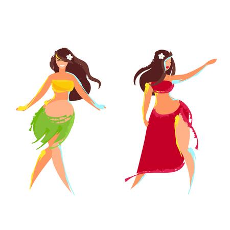 Two Hawaiian hula dancer. Hawaiian women. Vector illustration.