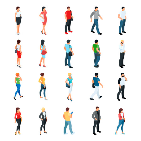 Set of isometric people isolated on white background. 3d men and women view front and back. Modern young people. Vector illustration. Çizim