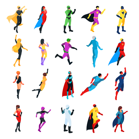 Set of isometric superheroes isolated on white background. 3d men and women view front and back. Isometric superheroes and villains. Vector illustration. Illustration