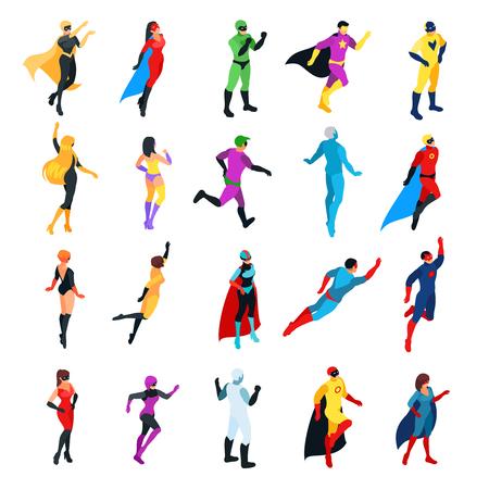 Set van isometrische superhelden geïsoleerd op witte achtergrond. 3d mannen en vrouwen bekijken voor- en achterkant. Isometrische superhelden en schurken. Vector illustratie.