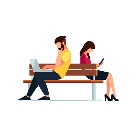girl laptop: Man and woman reading with a tablet pc and a laptop. Couple people in the orthogonal projection, isolated on white background. Vector illustration.
