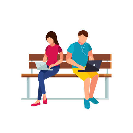 girl laptop: Couple of young people in a flat style of sitting on the bench isolated on white background Vector illustration.