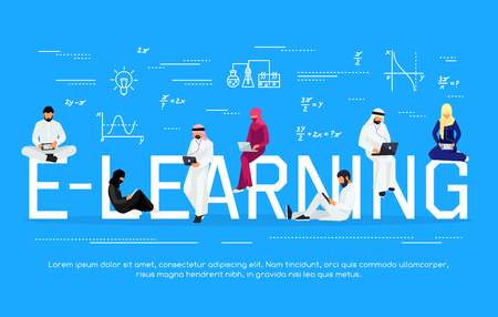 E-learning concept. Young Muslim people with tablet pc and laptops are engaged in distance learning on the Internet Vector illustration.