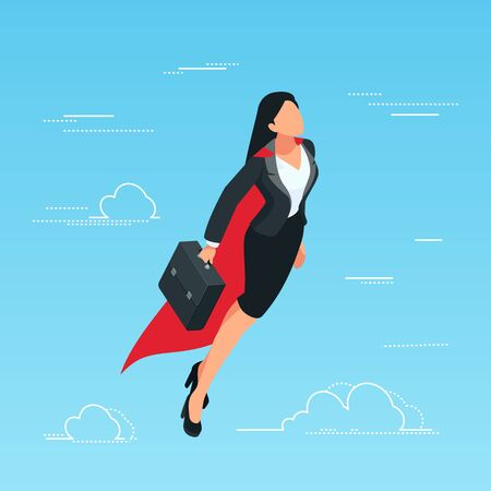 Isometric businesswoman flies in the sky as a superhero with a briefcase in her hand. Business start-up concept Vector illustration.