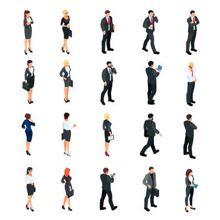 Set of isometric businessmen isolated on white background. Set of 3d businessmen and business women, front and back view. Isometric people in business suits in different poses. Vector illustration.