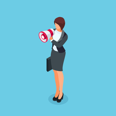 Isometric businesswoman with loudspeaker in hand. 3d businesswoman with a megaphone in her hand isolated on a blue background. Vector illustration.