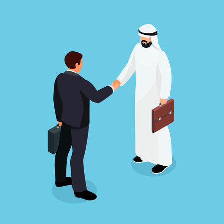 came: Isometric European and Muslim businessmen shake hands. 3d businessmen came to an agreement and completed the deal with a handshake. Template for banner or infographics. Vector illustration.