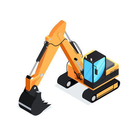 excavation: Isometric excavator isolated on white background. 3d icon construction digger. Special construction machinery. Vector illustration. Illustration