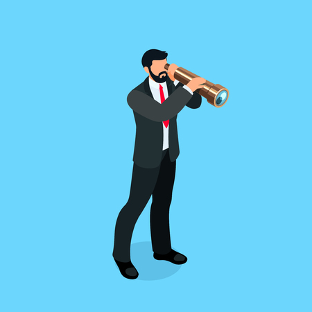 Isometric businessman looks in a spyglass. 3d businessman isolated on blue background. Vector illustration.