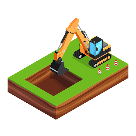 Isometric concept of building a house. 3d excavator is digging a pit for the foundation. House construction phases. Vector illustration. Ilustração