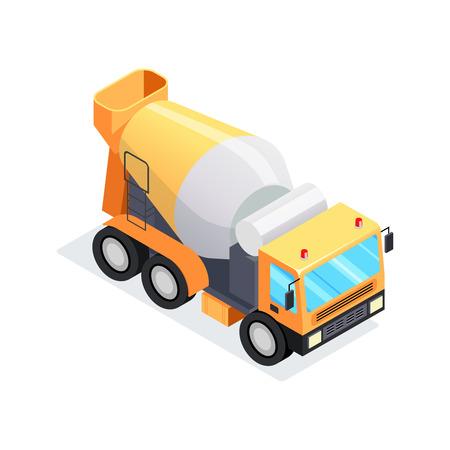 等尺性コンクリート ミキサーは、白い背景で隔離。3 d コンクリート ミキサーのフロント ビュー。重建設機械。ベクトルの図。