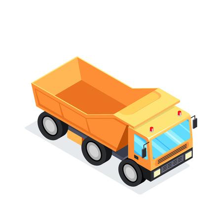 cargador frontal: Camión isométrico aislado sobre fondo blanco. Equipo de minería 3D Maquinaria de construcción pesada. Ilustración vectorial