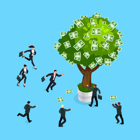 Isometric business concept of competition. 3d businessmen run to the money tree. Vector illustration.