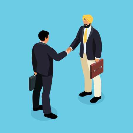 Isometric businessmen shake hands. 3d Indian and European businessmen came to an agreement and completed the deal with a handshake. Template for banner or infographics. Vector illustration.