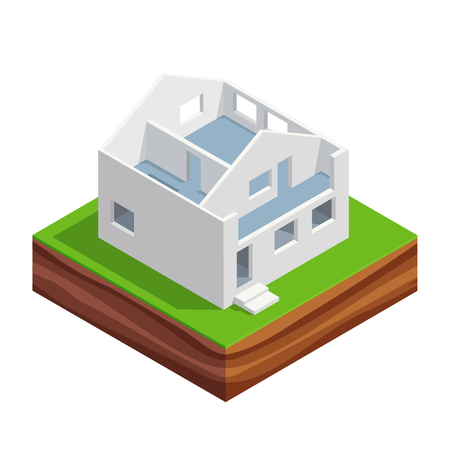 first house: Isometric concept of building a house. 3d the first and second floor of the house with interior walls. House construction phases. Vector illustration.