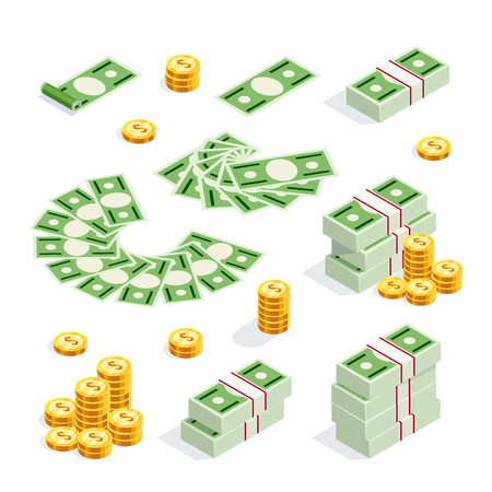 Set of isometric money isolated on white background. 3d coins and banknotes in bunches, money fan, money bundles and alone. Vector illustration.
