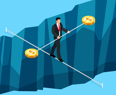 rope bridge: Isometric business concept of financial risks. 3d businessman walking through the abyss on the rope. Vector illustration. Illustration