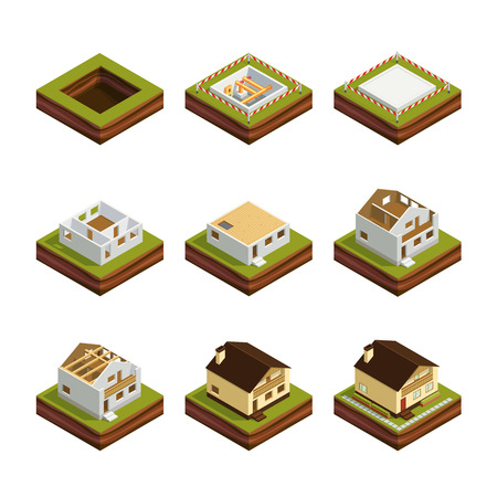 Isometric concept of building a house. Set of 3d icons construction of the house Isolated on white background. House construction phases. Vector illustration. Vettoriali