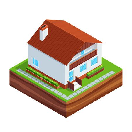 Banque Du0027images   Notion Isométrique De Construction Du0027une Maison.  Construction Complète De Maison 3D Isolé Sur Fond Blanc. Phases De  Construction De La ...