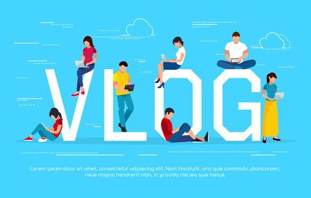 Concept de Vlog. Jeunes avec des tablettes PC. Les gens dans un style plat sont des vidéoblogs. Illustration vectorielle