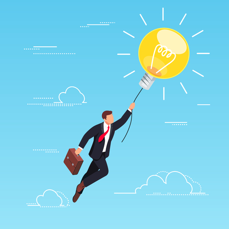 Isometric concept of a business idea. Businessman flying on light bulb in the sky. 3d businessman isolated on blue background. Vector illustration. Stock Illustratie