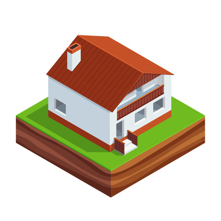 residential homes: Isometric concept of building a house. 3d two-storey house with roof Isolated on white background. House construction phases. Vector illustration.