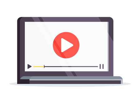 Vlog concept. Laptop in a flat style isolated on white background. Laptop with video on the screen. Vector illustration.