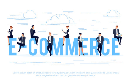 E-commerce. Business concept in a flat style with businessmen using smartphones and laptops. Vector illustration.