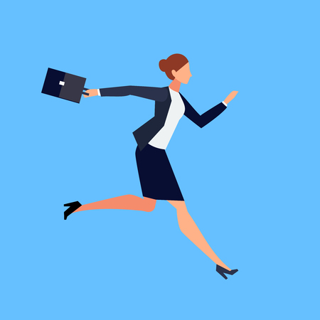 Business lady with a briefcase in her hand is late and in a hurry lat style isolated on blue background Vector illustration.