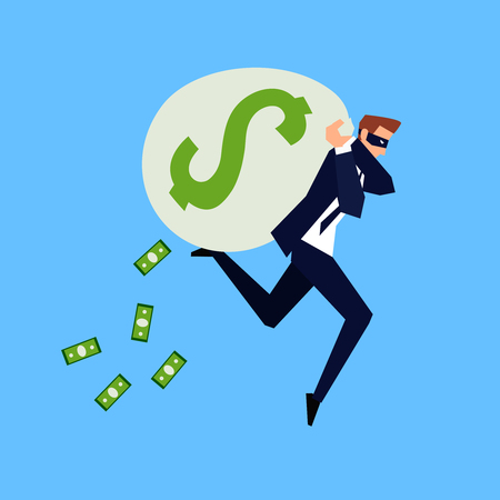 Corruption and fraud. Business concept in a flat style. Running businessman in a mask with a bag of money on his back Vector illustration.