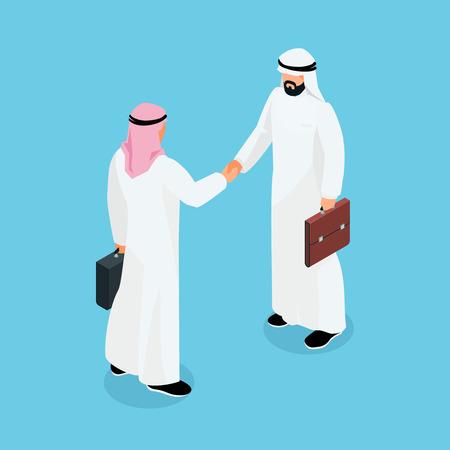 Isometric Businessmen Shake Hands 3d Muslim Businessmen Came