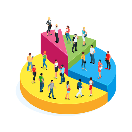 Isometric concept of society. 3d people on a pie chart isolated on white background. Vector illustration.