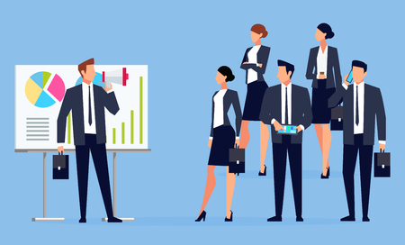 Businessman with megaphone speaking before a group of people. Businessman with a loudspeaker makes a warning. Business people in different poses listen to the speaker. Vector illustration. Illustration