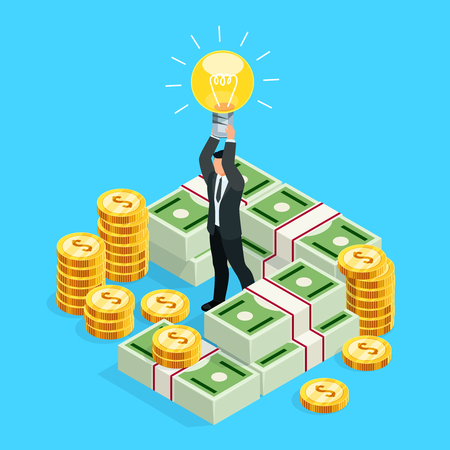 Busines concept of crowdfunding. Isometric businessman with a light bulb over his head as a symbol of a business idea. 3d businessman among the money, packs of dollars and coins. Vector illustration. Illustration