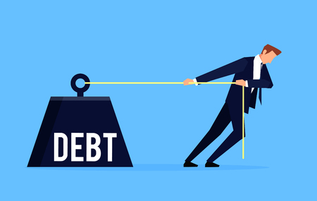 Debtor. Businessman is pulling a huge weight with a debt. Business concept debtor in a flat style. Vector illustration. Stock Illustratie