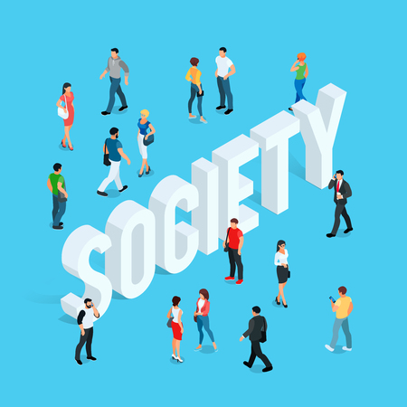 Society concept with people in different poses
