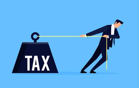 Homme d'affaires tire un poids énorme pour l'impôt.