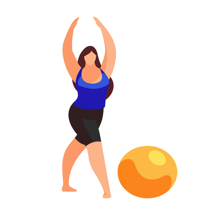 Woman doing fitness exercise isolated on white background.