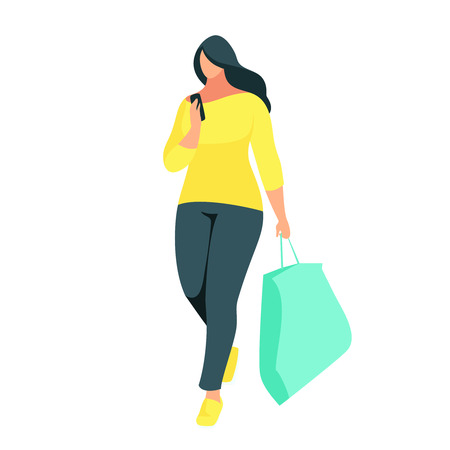 Shopping. Buyer with bag in hand isolated on white background. A young woman made a purchase and uses a smartphone. Beautiful woman shopper in a flat style. Vector illustration.