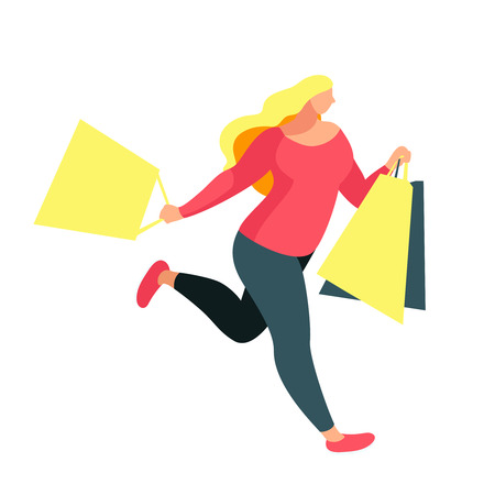 Shopping. Buyer runs with bags in hands. Beautiful customer girl in a flat style isolated on white background. Plus size woman shopper. Vector illustration.