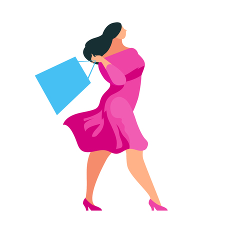 Shopping. Buyer walking with bags in hands. Beautiful customer girl in a flat style isolated on white background. Plus size woman shopper. Vector illustration.