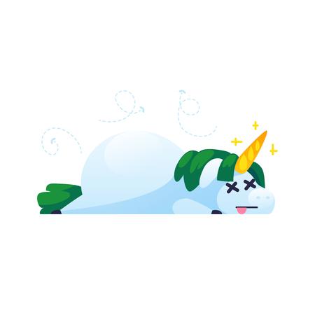 Funny unicorn isolated on white background. Dead unicorn in cartoon style. Vector illustration.
