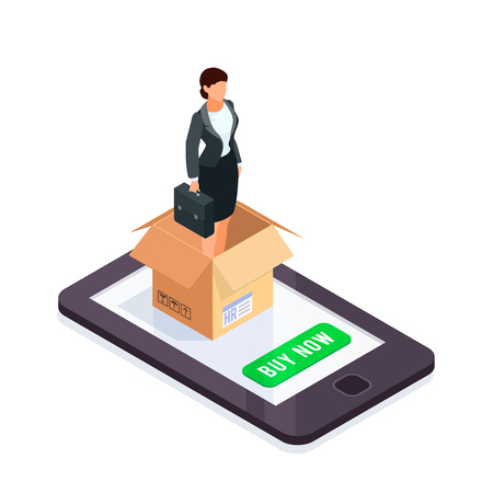 HR isometric concept. Manager in a box isolated on white background. Office worker packed in a cardboard box. Vector illustration. Illustration