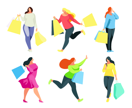 Shopping. Set of a buyers with shopping bags in hand. Girls shoppers isolated on white background. Big Sale. Set of women plus size in a flat style. Vector illustration.