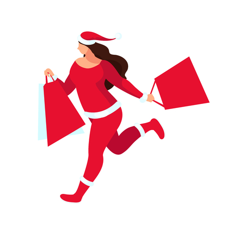 Shopping. Buyer with shopping bags in hands. Santa girl isolated on white background. Christmas sale. Woman plus size in a flat style. Vector illustration.